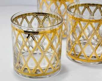 Set Four Low Ball Vintage Barware Glasses Gold Rope Nautical Gift