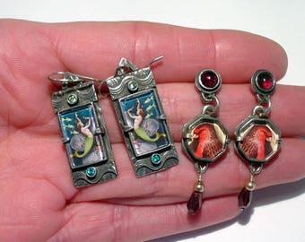 DAWN ESTRIN, Bijou Graphique, Sterling Silver Mermaid and Finch Bird Pierced Dangle EARRINGS, 2 Pair