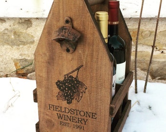 Custom Rustic Wood Wine Carrier for 4 Bottles