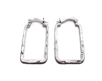 Sterling Silver Rectangle Hoops/Sterling Silver Rectangular Hoops/Hammered Hoop Earrings/Hinged Hoops/Hinge Hoops