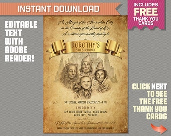 Wizard of Oz Birthday Invitation with FREE Thank you Card!- Wizard of Oz Invitation, Wizard of Oz Party, Dorothy, Glinda, Wizard of Oz Movie