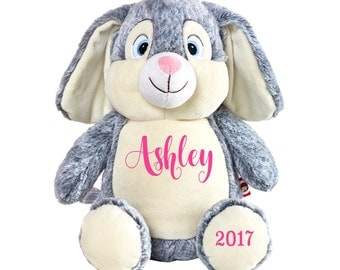 Personalized Easter Bunny -  Boy or Girl Baby Gift Cubbies Bunny Rabbit - Easter Gift - Gray Bunny - Gray Rabbit