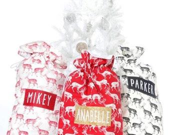 Personalised Nordic Stag Reindeer Christmas Santa sack stocking Any Name