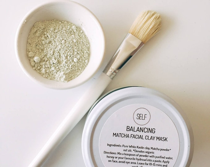 Featured listing image: Balancing Organic matcha, oat and white kaolin clay mask - 80g