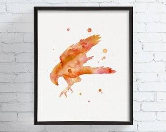 Watercolor Falcon Print, Falcon Art, Falcon Painting, Watercolor Hawk Art, Hawk Print, Hawk Painting, Nursery Decor, Kids Room, Bird of Prey