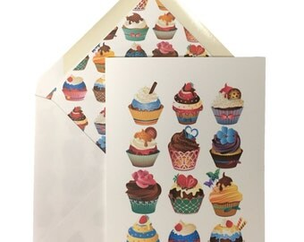 "Cupcakes Birthday Card, Greeting Card, Birthday, Cupcakes, Linen Card Stock, Lined Envelope, Sweet, Fun, Cake, Handmade, 5"" X 7"""