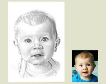 Unique personalised gift of your loved one. baby gift, hand drawn pencil portrait commission from your favourite photos, pencil drawing,
