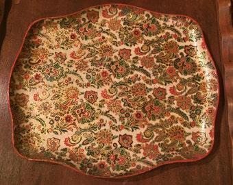 Vintage Alcohol Proof Paper Mache Tray/Bohemian Tray/Christmas Tray