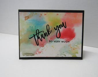 Handmade greeting card - Thank you card - Rainbow - Watercolor - Abstract - Gift for him - Gift for her