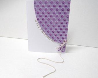 Handmade greeting card - Happy birthday - Birthday card - Balloon - Purple polka dots - Metallic - Gift for him - Gift for her
