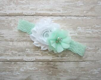 Mint headband, mint and white, easter headband, Easter accessories, mint photo props, newborn headband, mint baby headband, spring colors