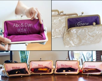 Embroidery for Clutches- ADD ON ONLY- Personalization, Name Embroidery for Custom Bridesmaid Clutch Set or Bridal Purse