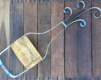 Champagne Bottle | Anniversary / Wedding Gift | Rustic Winery Decor | Personizable Label | Made From Recycled Wine Barrel Metal Metal Hoops
