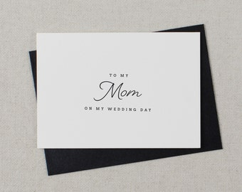 Wedding Card To My Mom Wedding Day - To My Mother Wedding Card, Wedding Stationery, To My Mom, Thank You Wedding Card, Wedding Note, K1