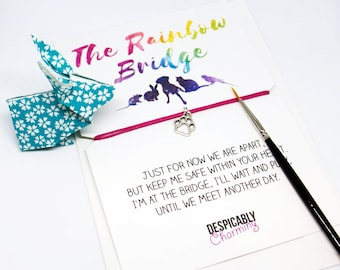 Rainbow Bridge Friendship Bracelet, Pet Sympathy Card, Pet memorial, Pet keepsake, Pet Death, Pet memory bracelet, Remembrance bracelet