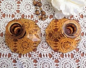 Vintage Candle Holders - Vintage Candlestick Holders - Amber Glass Candle Holders - Vintage Candleholders - Two Candle Holders - Glass Pair