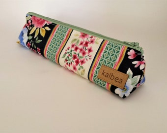 Floral and Stripes Pencil Pouch, Boxy Pencil Pouch, Makeup Brush Bag, Floral Pencil Case, Boxy Pencil Case, Gift for Her, Teacher Gift
