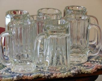 Seven Vintage Glass Beer Mugs