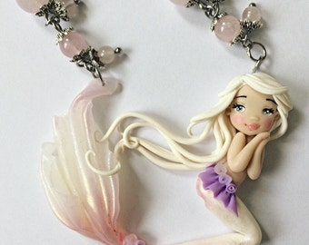Necklace polymer clay handmade doll pink mermaid