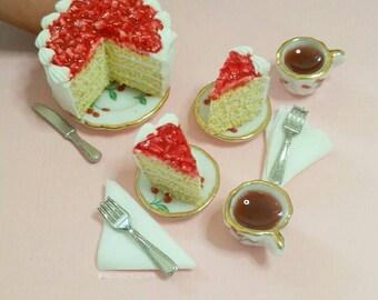 Handmade dollhouse miniatures, realistic miniature food, strawberry shortcake. Polymer clay miniature food cake 3pcs
