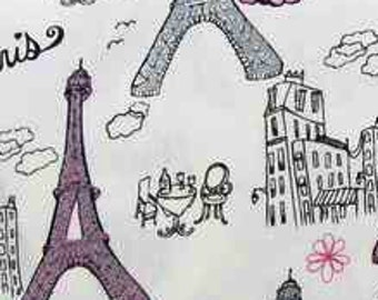 Glitter Paris Eiffel Tower Fabric 100% Cotton Quilting Apparel Crafts Home decor