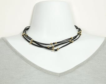 Multi Strand Leather and Gold Filled Bead Choker