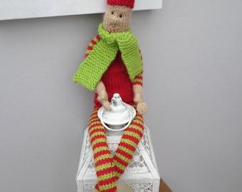 Hand Made/Hand Knitted Plush Elf Santa's Little Helper.