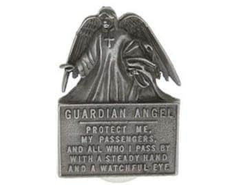 Angel Protect Me Visor Clip Silver Pewter for your Car