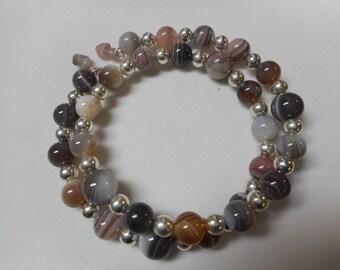 Botswana Agate Wire Wrap Bracelet