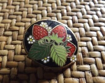 Hallmark Beautiful Enamel  STRAWBERRY Brooch, Vintage Jewelry, Strawberries, Costume Jewelry, Women's Jewelry