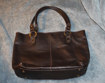 Vintage Claudia Firenze Purse, Genuine Leather, Made in Italy, With Cow Skin Fur on The Outside of the bag in Stripes, Has Four Feet,