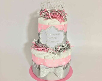 Welcome Little Princess Diaper Cake Centerpiece, Princess Themed Baby Shower, Girl Baby Shower
