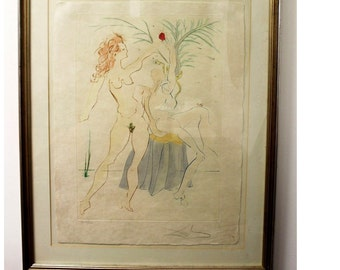 Mid Century Modern Salvador Dali Lithograph Signed Adam and Eve S.A. 19/300 COA