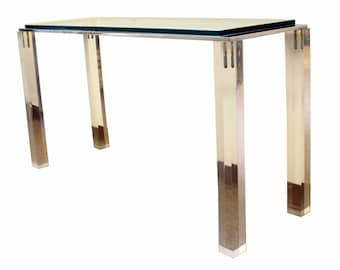 Mid Century Modern Lucite Glass & Chrome Console Table Charles Hollis Jones