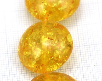 Amber beads, Oval Amber, Semi transparent Speckled Beads, Resin Acrylic Beads Yellow Brown Amber Round beads, Ethnic Beads
