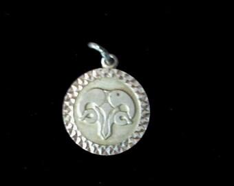 Vintage silver Aries ram pendant or bracelet charm, silver charm. silver pendant, star sign, horoscope, astrology, vintage silver jewellery