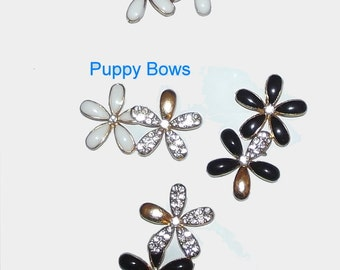 Puppy Bows ~Small black or white rhinestone crystal flowers dog bow  pet hair clip barrette