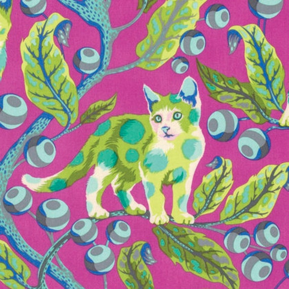 Tabby Road DISCO KITTY Berry Bird SALE TulaPink Sold in 1/2 yd increments