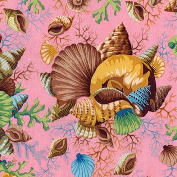 SHELL BOUQUET Brown PWPJ088 Philip Jacobs for Kaffe Fassett Collective Sold in 1/2 yd increments