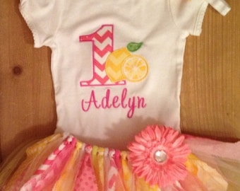 Pink and Yellow Lemon Birthday Tutu Outfit