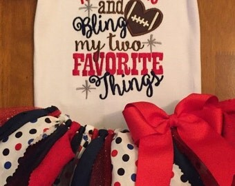 Touchdowns and Bling My Two Favorite Things Football Team Spirit Scrap Fabric Tutu Outfit