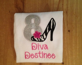 Diva Birthday High Heel Embroidered Shirt or Baby Bodysuit
