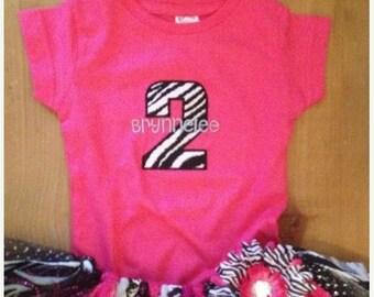 Hot Pink and Zebra Scrap Fabric Birthday Tutu Outfit