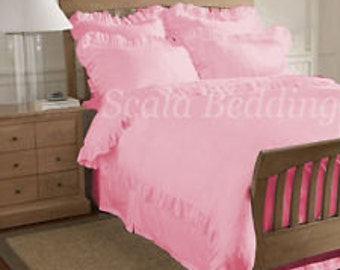 1000 TC Egyptian Cotton Edge Ruffle Duvet Set - Pink Color Queen Size