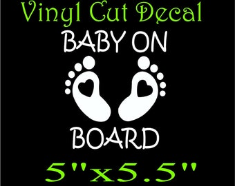 Baby on board cute bumper sticker vinyl decal car truck suv 4X4 girl boy safety awareness you choose size and color