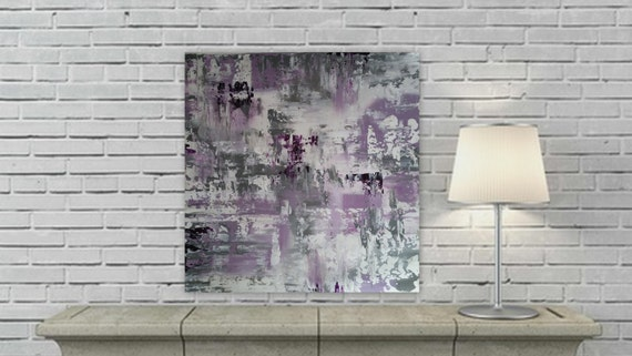 Large abstract painting white, purple, and gray/ grey modern abstract painting custom order ready to hang acrylic abstract painting