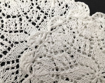 Pair of Vintage White Knitted Doilies
