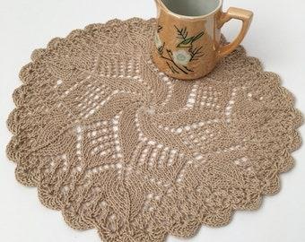 Vintage Ecru Knitted Doilie 23cm
