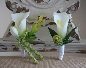 Cream Calla Lily Boutonnieres Set of Two