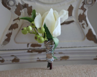 Cream Real Touch Rose Bud Boutonniere with Green Berries and Silver Accent